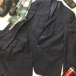 Andrew Fezza Blue Plaid Lined Suit, sz 42L